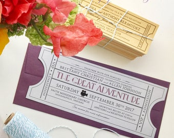 Vintage Film Ticket Invite with envelope / Wedding / Corporate Event / Birthday / Shower