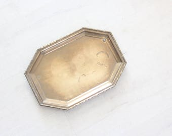 Brass Serving Tray w/ Faux Bamboo Edges
