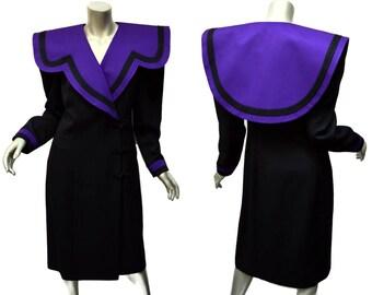 Flashy 1980s Dress ~ Vintage Ann Tobias ~ Purple Black ~ Size Medium Sheath, Asian Inspired ~ Massive Collar