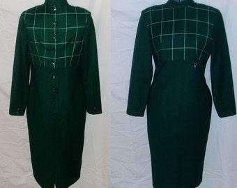 SALE Vintage Bombshell Forest Green Wool Wiggle Dress Mad Men Joan Holloway Nice Details M
