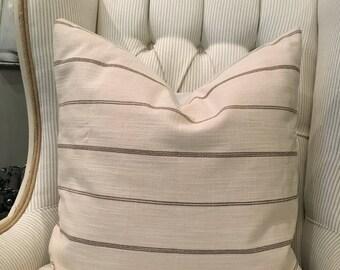 "Light cream & Greige linen textured stripe 20"" pillow cover / farmhouse / modern/ traditional"