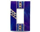 Cobalt Switch Cover, Blue Light Switch Plate, Stained Glass Mosaic, Decora Switchplate, Rocker Wall Plate, Outlet Switch Cover, 8444