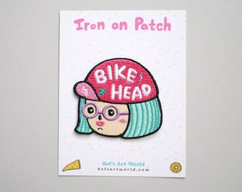 Bike Head Girl Iron On Patch