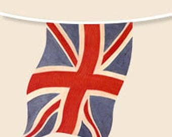 England Faded Union Jack Paper Bunting Decorations 10 Flags 94 Inches Long