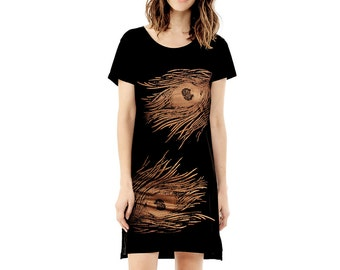 Women's T shirt Dress, Tee Dress Tunic - Shimmer Copper Peacock Screenprint
