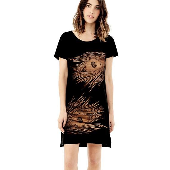 Women's T shirt Dress, Tee Dress Tunic - Shimmer Copper Peacock Screenprint