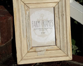 4 x 6 white old vintage picture frame made from salvaged wood molding