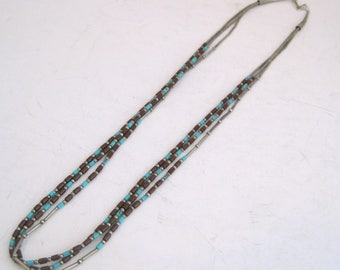 Vintage Three Strand Beaded Sterling Silver Necklace Turquoise Burgundy Red Jasper