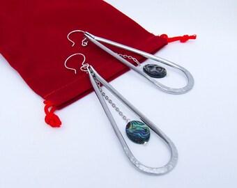 Abalone Earrings, Paua shell jewelry, long dangles, lightweight, aluminum earrings