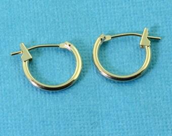 11mm 14k Solid Yellow Gold Petite Hoop Earrings Earwires