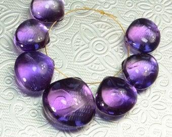 65.5CT Gem African Purple Amethyst Plain Heart Briolette Beads (7)