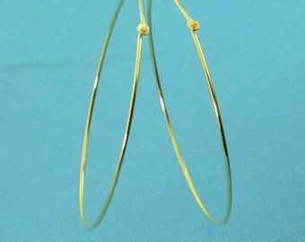 18k Gold Vermeil Hoop Earrings Findings 40mmx0.75mm 1 PAIR