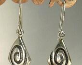 Vintage Southwestern Sterling Silver Earrings Modernist Design Pierced Earrings