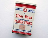 1950 Vintage White Cross Bandages Advertising Tin, Vintage BandAid Box, Tin Container, Bath Decor