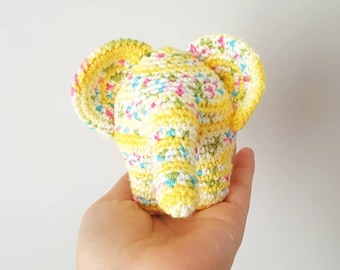 Iconic elephant plush, elephant toy, crocheted elephant, nursery, baby boy, decorative elephant, amigurumi elephant