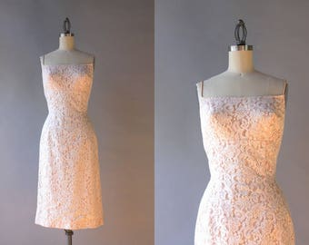 1960s Dress / Vintage 60s Nude Lace Wiggle Dress / Sixties Bombshell White Lace Fitted Dress XS small
