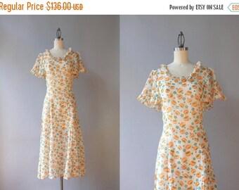 STOREWIDE SALE 1930s Dress / Vintage 30s Dress / 1930s Sheer White Floral Cotton Gauze Dress Small Medium