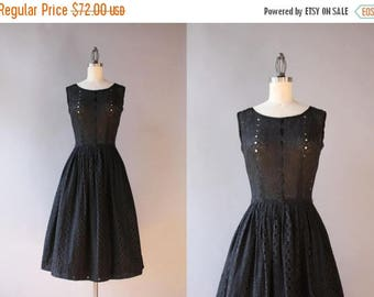 STOREWIDE SALE 1950s Dress / Vintage 50s Black Cotton Eyelet Dress / 50s Ribbon Laced Eyelet Dress extra small xs