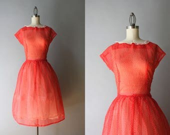 Vintage 50s Dress / 1950s Sheer Dotted Dress / 50s Apple Red Tiny Dots Dress M/L medium large