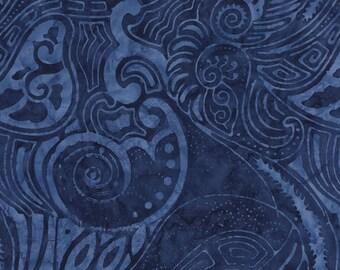 Batik Abstract Geo Tonga Royal Blue Timeless Treasures Fabric 1 yard