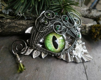 Gothic Steampunk Green Eye Pin Pendant with Tear