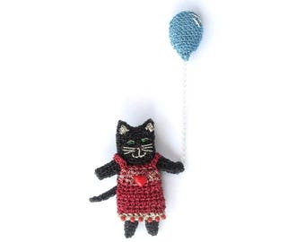 Cat jewelry, cat holding a balloon brooch - unusual animal brooch, cat lover gift, party animal, adorable brooch, whimsical jewelry, cat pin