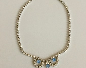 Beautiful vintage 1960s Something Blue Rhinestone and Blue Stone Necklace-Bridal-Wedding-Prom-Gift