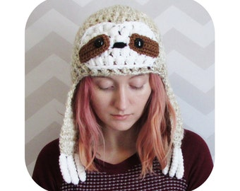 sloth hat - sloth beanie - earflap hat - winter hat - animal hat - beanie with earflaps - funny animal hat - messy bun hat option - vegan