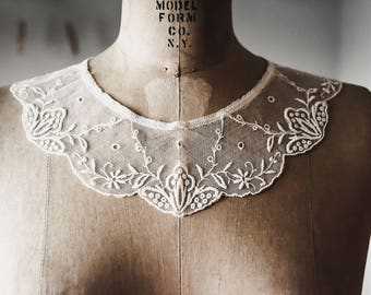 Antique Embroidered Net Lace Collar and Cuffs, Antique Lace, Net Lace, Lace & Trims, Antique Textiles, Sewing Supplies, Embroidered Lace