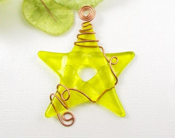 Yellow Glass Star - Fused Glass Star Ornament - Bright Yellow Star Suncatcher Wrapped with Copper Wire