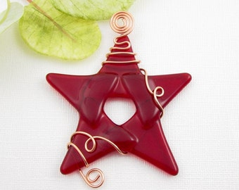 Red Fused Glass Star - Red Glass Christmas Star Ornament - Glass Christmas Tree Ornament - Star Wrapped with Copper Wire