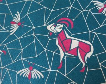 Goats and Moths - hand printed cotton fabric - Half Yard OOAK