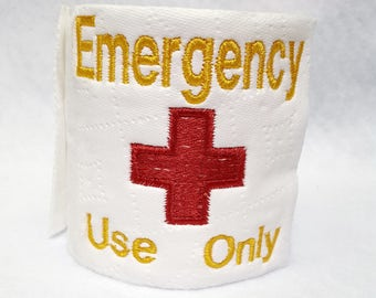 Emergency Roll of Toilet Paper Gag Gift Bathroom Decoration Office Men Women Decor Novelty Father's Day Gift Red Cross In Case of Zombies
