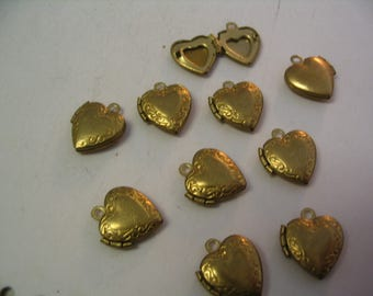10 Vintage Brass Heart Lockets Jewelry Supplies