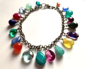 Rainbow Bracelet, Colorful Gemstone Bracelet, stylename- Pure Joy, emerald, turquoise, carnelian, amazonite, topaz, birthstone