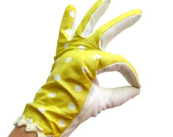 Vintage 1960s Yellow Gloves with Polka Dots / Evening Gloves / Pin Up Gloves / Yellow Driving Gloves / Easter Gloves / Large