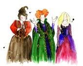 Hocus Pocus Inspired Fashion Illustration Print