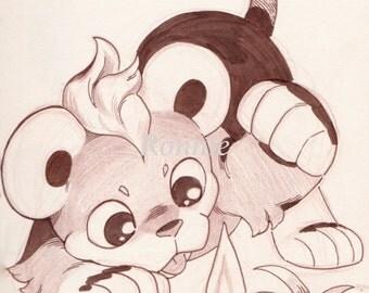Litleo original illustration matte print 11 x 8.5, pokemon, home decor