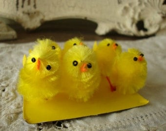 """chenille chicks mini 1"""" 1/2 baby chickens easter craft supplies vintage style yellow chicks baby animals easter crafting party favors"""