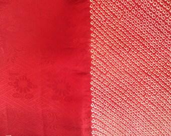 """Shibori Silk Kimono Red 86"""" Fabric Half Shibori"""