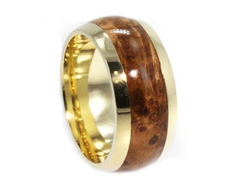 Wood Ring, 18k Yellow Gold Wedding Band With Black Ash Burl, Eco Friendly Ring