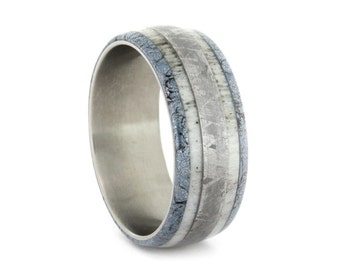 Titanium Ring with Black and Blue Cobalt Mokume, Antler, and Gibeon Meteorite, Wedding Band