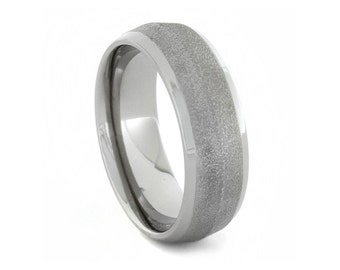 Frosted Titanium Ring with Knife Edge Profile and Polished Titanium Sleeve, Includes Comfort Fit