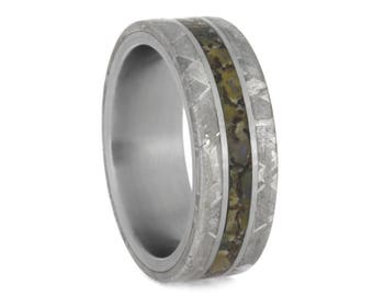 Mens Fossil Ring With Gibeon Meteorite Edges, Titanium Wedding Band, Signature Style