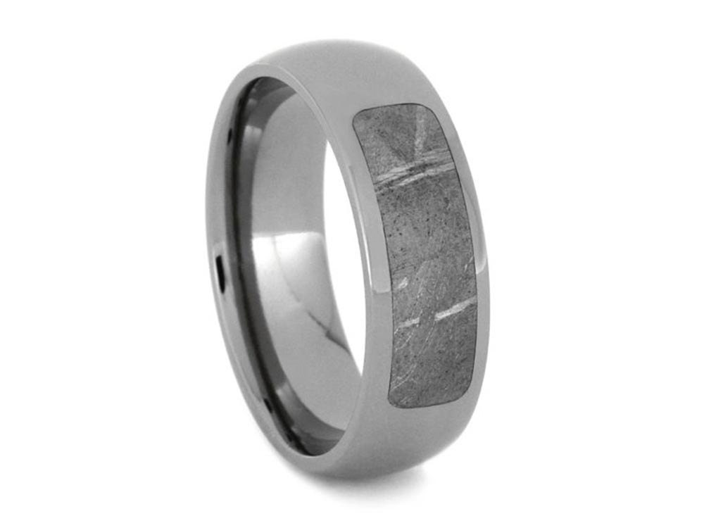 meteorite wedding band in polished titanium partial meteorite