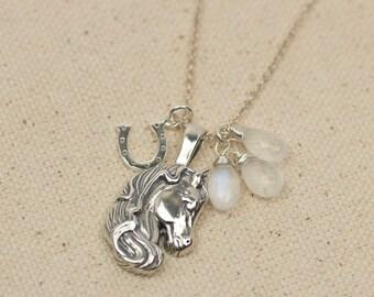 Horse Pendant Necklace with Moonstones, Horseshoe