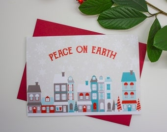 Set of 5 Peace on Earth Holiday Greeting Cards / Diane Kappa