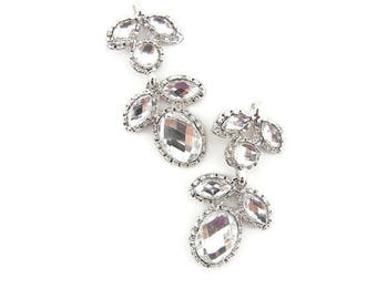Pair of Silver-tone Acrylic Faceted Cabachon Floral Drops