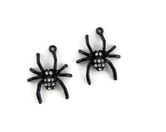 Pair of Small Black Epoxy Spider Charms with Rhinestones