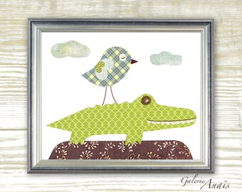 Nursery Art Baby Boy Nursery Decor Kids Wall Art Baby nursery art Crocodile nursery Playroom art Bird nursery Jungle nursery